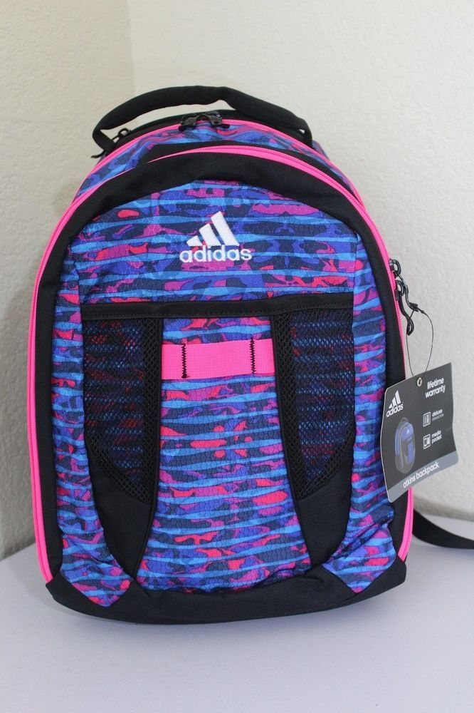 7b2a237fcc Adidas atkins backpack women blue pink black padded straps 17