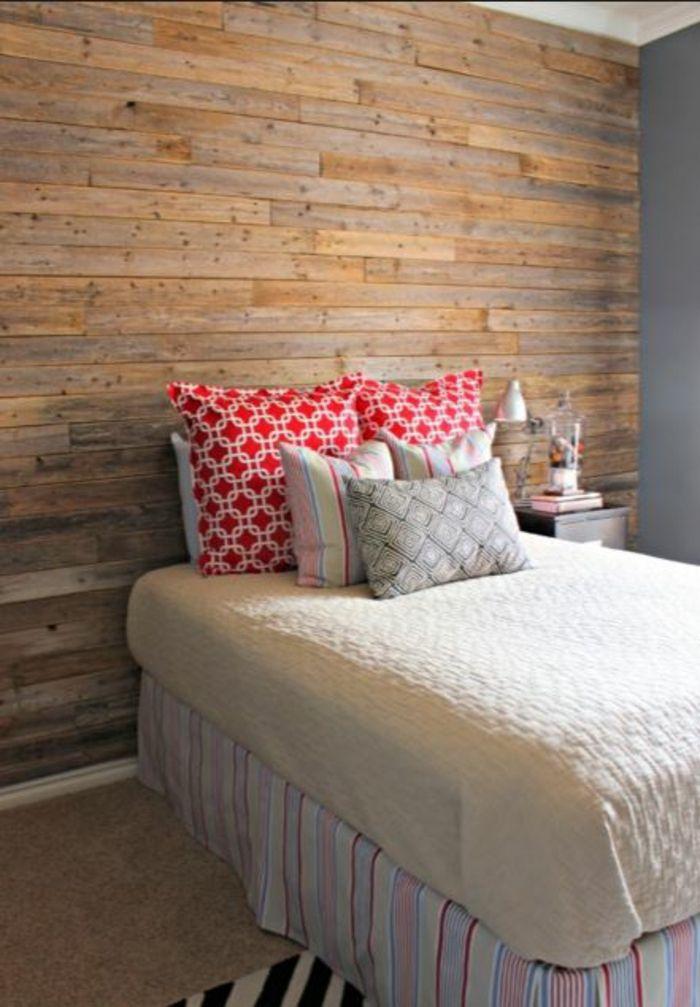 kreative wandgestaltung holzverkleidung innen deko ideen bett kopfteil - Gemutliche Holzverkleidung Innen