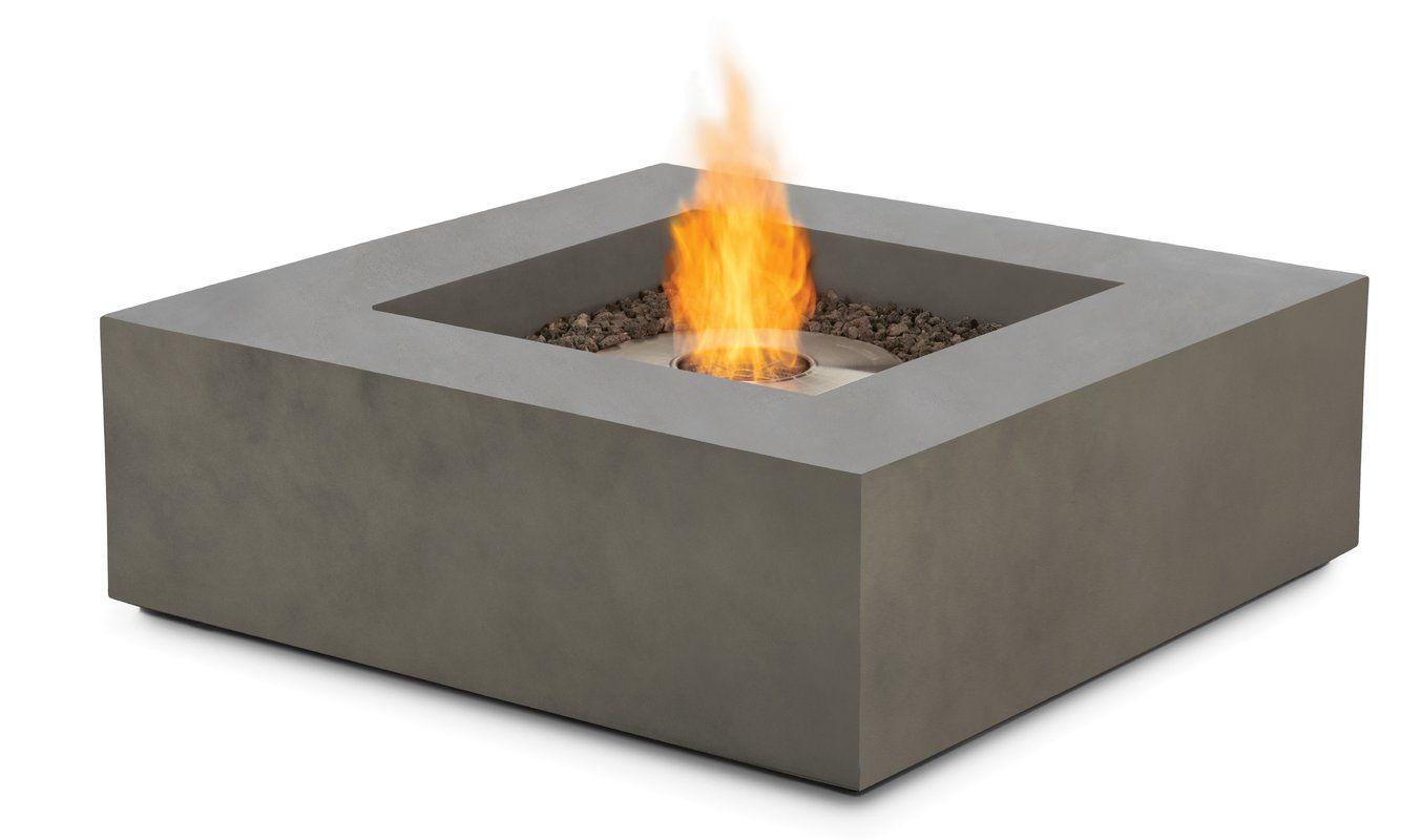 Shelbie Low Square Concrete Bio Ethanol Fire Pit Table