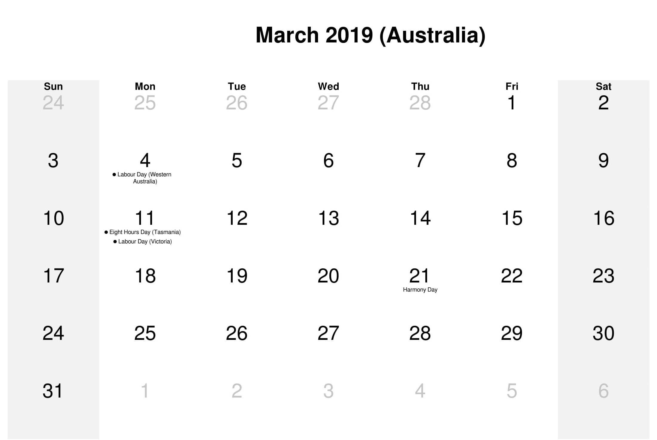 March 2019 Calendar Australia Calendar australia, 2019