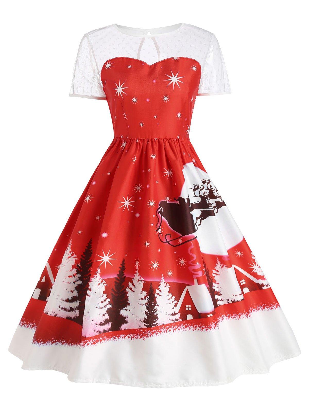 Chicloth Round Neck Short Sleeve Christmas Print Vintage Dress Vintage Red Dress Vintage Dresses Vintage Christmas Dress [ 1596 x 1200 Pixel ]