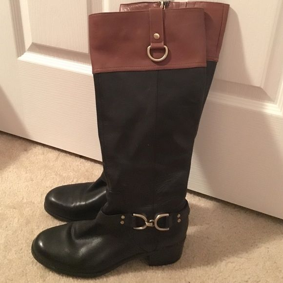 no sale tax crazy price best authentic Brown and Black Bandolino boots. Black boots with Brown trim ...