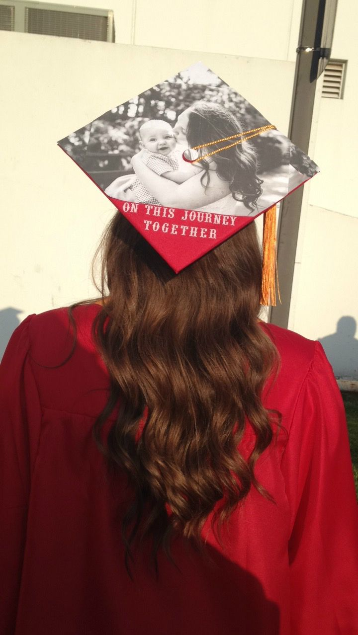 Mother and son graduation cap decoration.