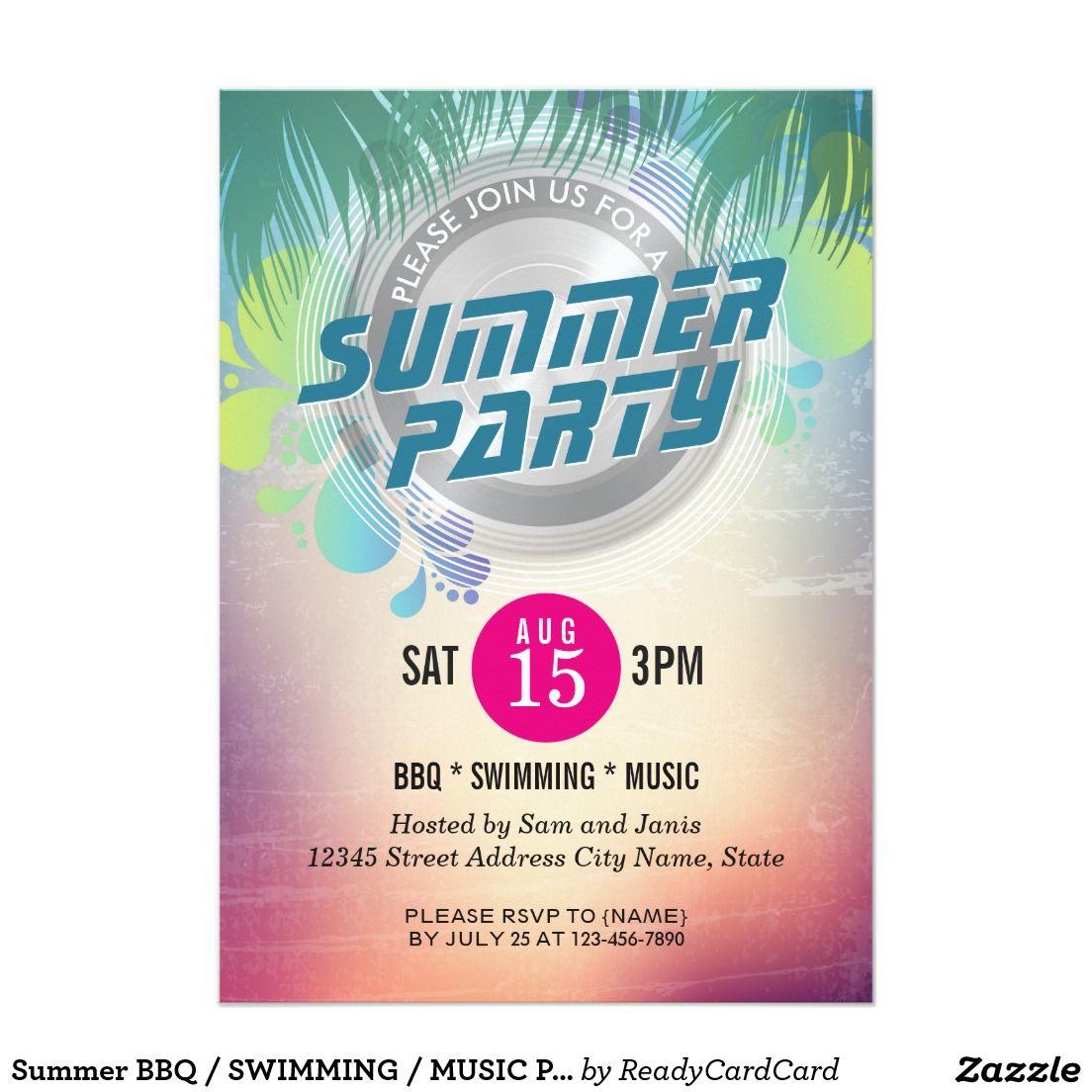 Summer BBQ / SWIMMING / MUSIC Party Invitation