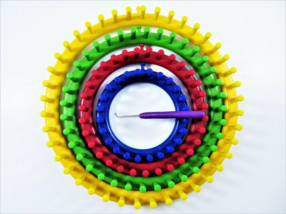 Round Knitting Looms 4 Piece Set Graduating Sizes Plus 1 Pick-Hook Colorful Set #HS