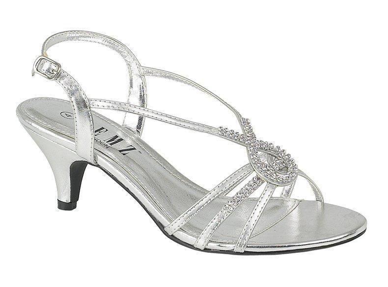 Merveilleux Evening Wedding Prom Low Heel Diamante Sandals | EBay £17.99