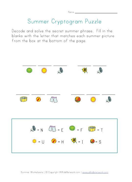 Cryptogram Puzzle Worksheet