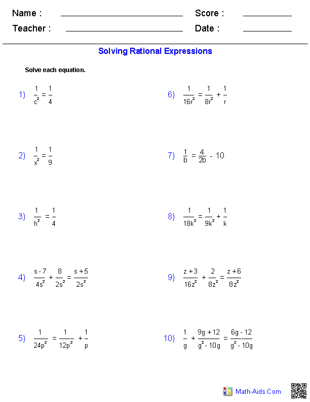 Solving Rational Equations Worksheets Math Aids Com Pinterest