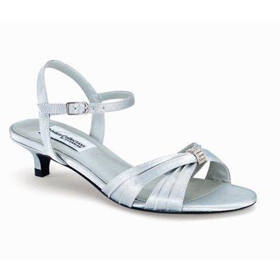 Silver Sandals Low Heel Bridal Shoes Fiesta White Satin Wedding