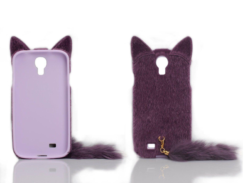 Cases kingdom 3d cute fluffy tail cat tpu case cover skin