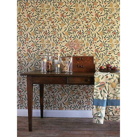 Morris co fruit beige gold coral dgw1fu101 for Beige kitchen wallpaper