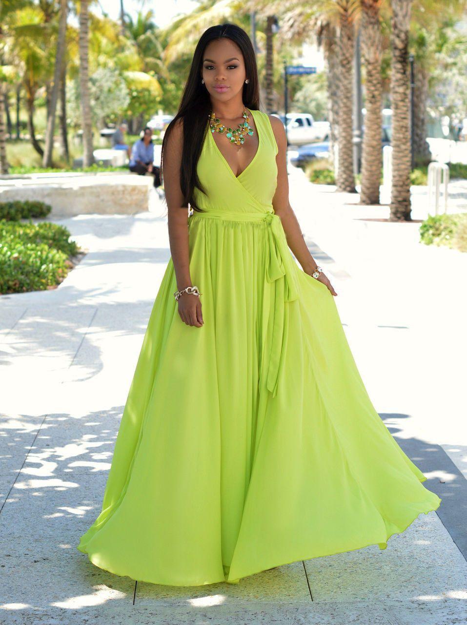 Green dress v neck  Chiffon Slim Slit Vneck Sleeveless Long Dress  Fashionista