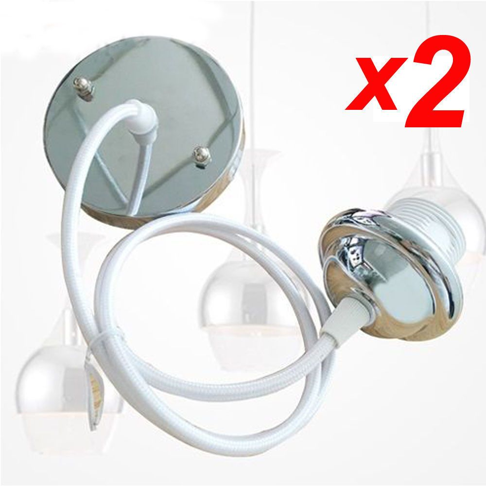 2x ceiling rose pvc wires flex pendant lamp holder light install modern ceiling rose pendant light fittings in a choice of 4 colour options new2x aloadofball Image collections