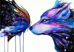 Wolf Butterfly Tattoo Designs Google Search Art Galaxy Art Art Prints