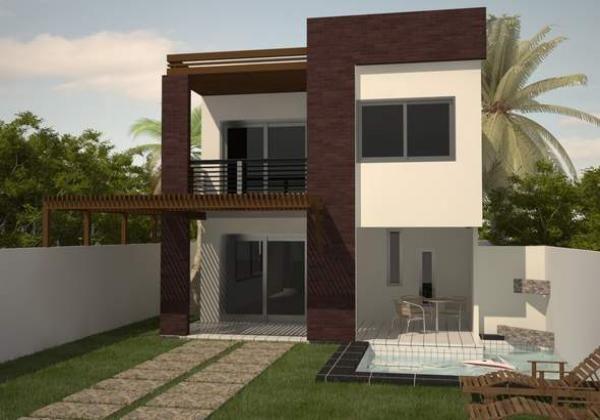 Casa moderna de dos plantas y tres dormitorios fachadas for Fachadas modernas para departamentos