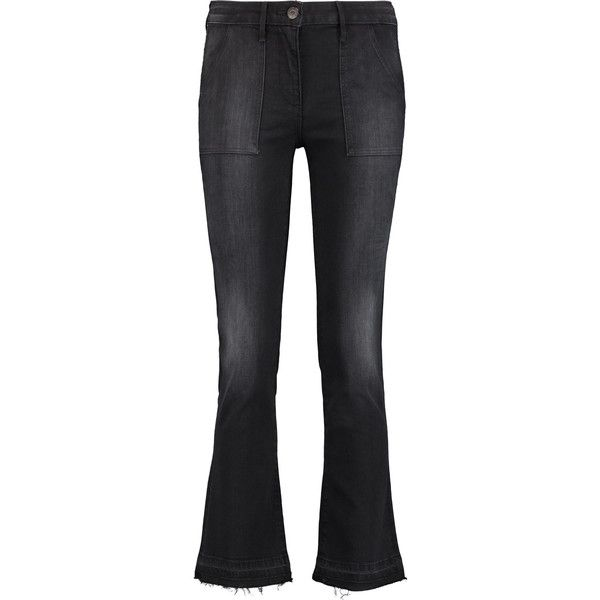 3x1 - Mid-rise Faded Bootcut Jeans ($99) ❤ liked on Polyvore featuring