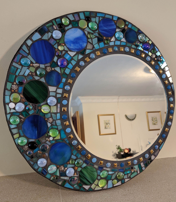 Stained Glass Mirror Mosaic Mirror Circular Stained Glass Mosaic Wall Hanging Mirror In Blues And Greens In 2020 Hanging Wall Mirror Stained Glass Mirror Mosaic Mirror