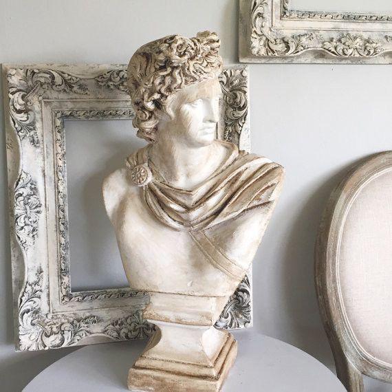 David Roman Statue, Plaster Bust Figurine Office Mantle Decor ...