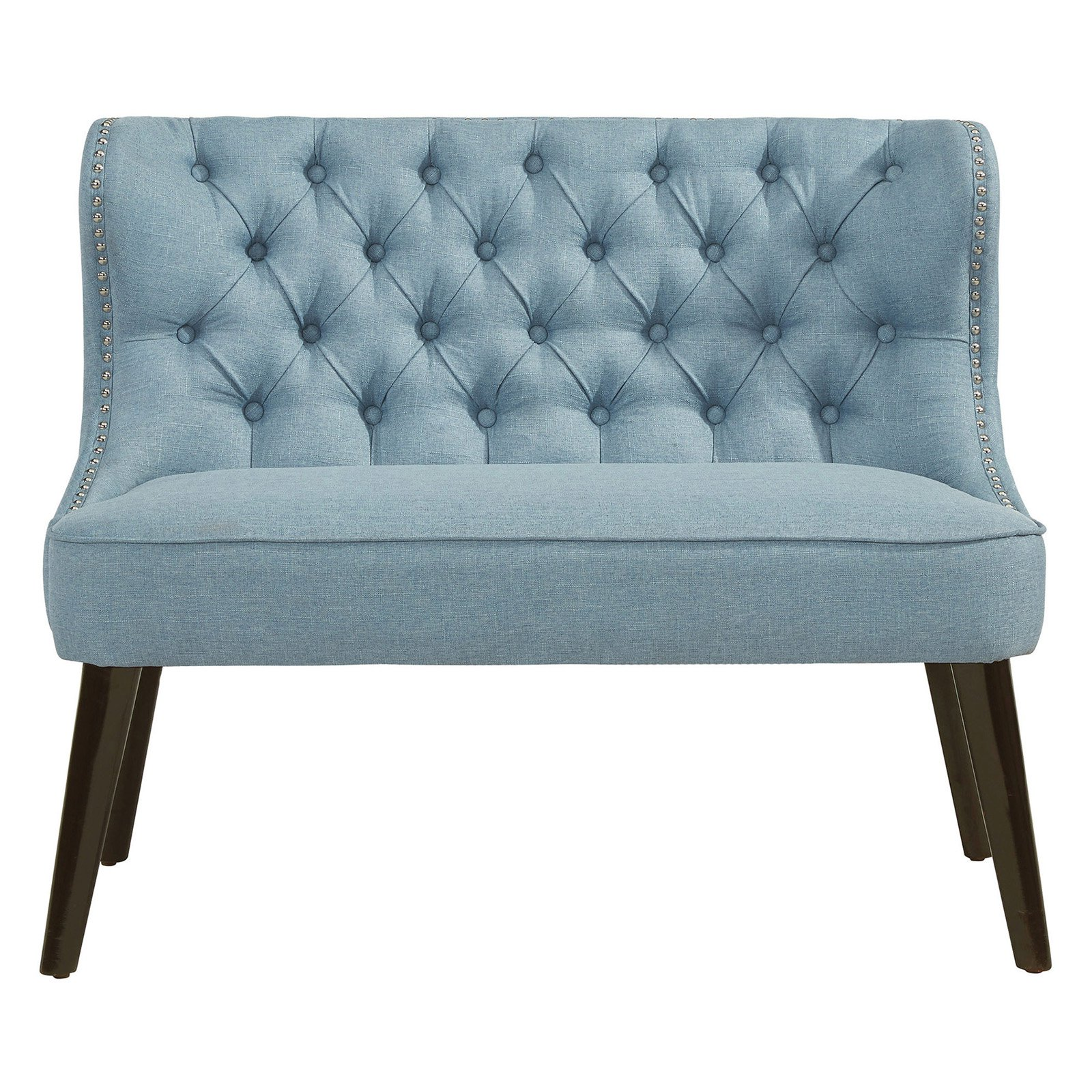 Nspire Fabric Button Tufted Settee Light Blue Furniture Love