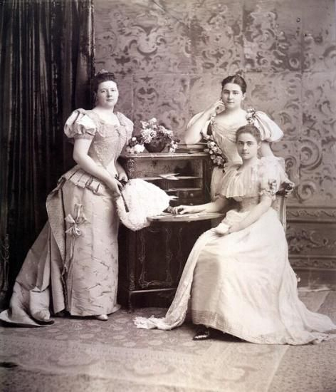 This photo by Davis & Sanford features Pierpont Morgan's daughters, Louisa, Anne, and Juliet Morgan, ca. 1900