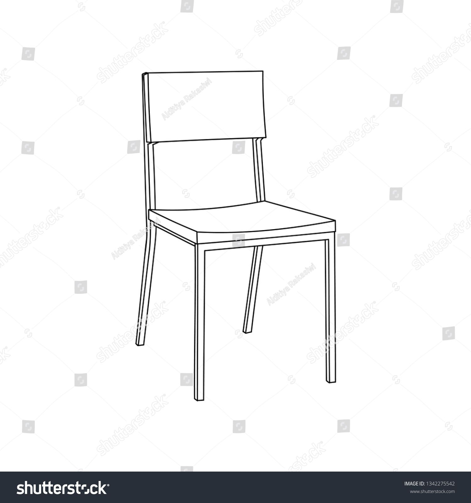 Dining Chair Furniture Simple Outline Illustration Isolated Clip Art Vector Ad Ad Simple Outline Furniture Dining In 2020 Furniture Chair Chair Dining Chairs