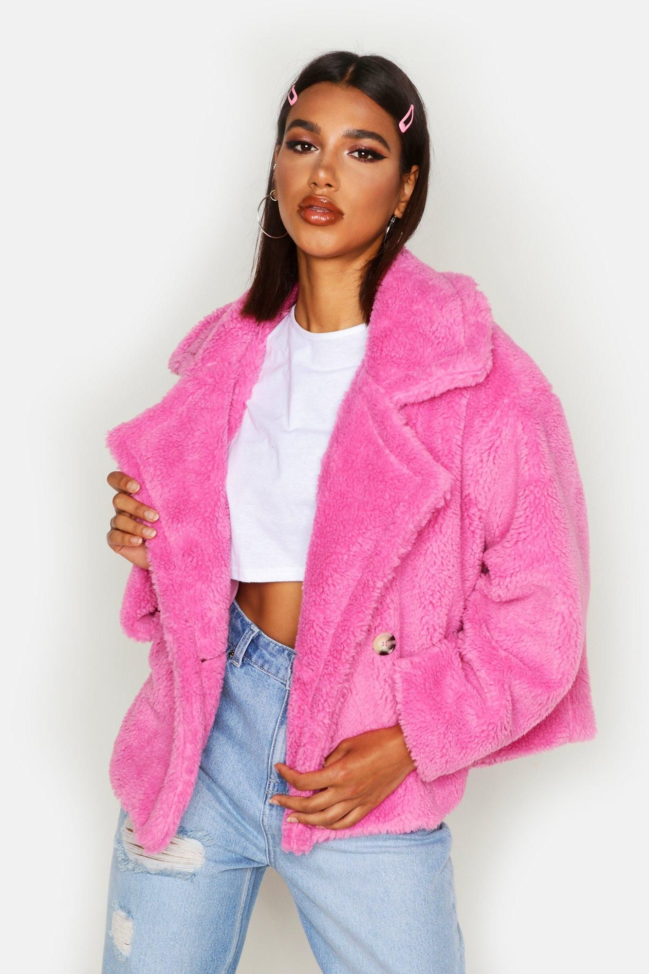 Double Breasted Short Teddy Faux Fur Coat Boohoo Faux Fur Coat Short Faux Fur Jacket Pink Fur Coat [ 2000 x 1333 Pixel ]