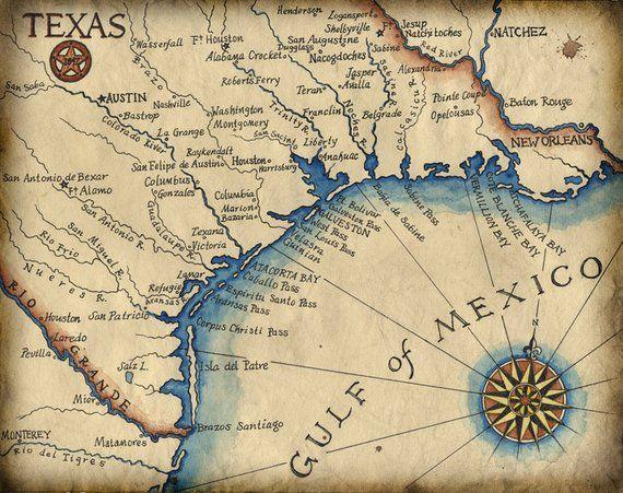 Map Of Texas Coastal Towns.Texas Coast Map Art C 1847 11 X 14 Texas Coast South Padre