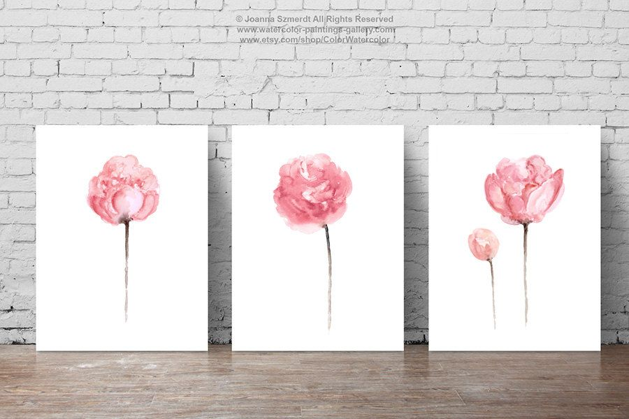 Peony Watercolor Painting Shabby Chic Home Decor Abstract Flowers