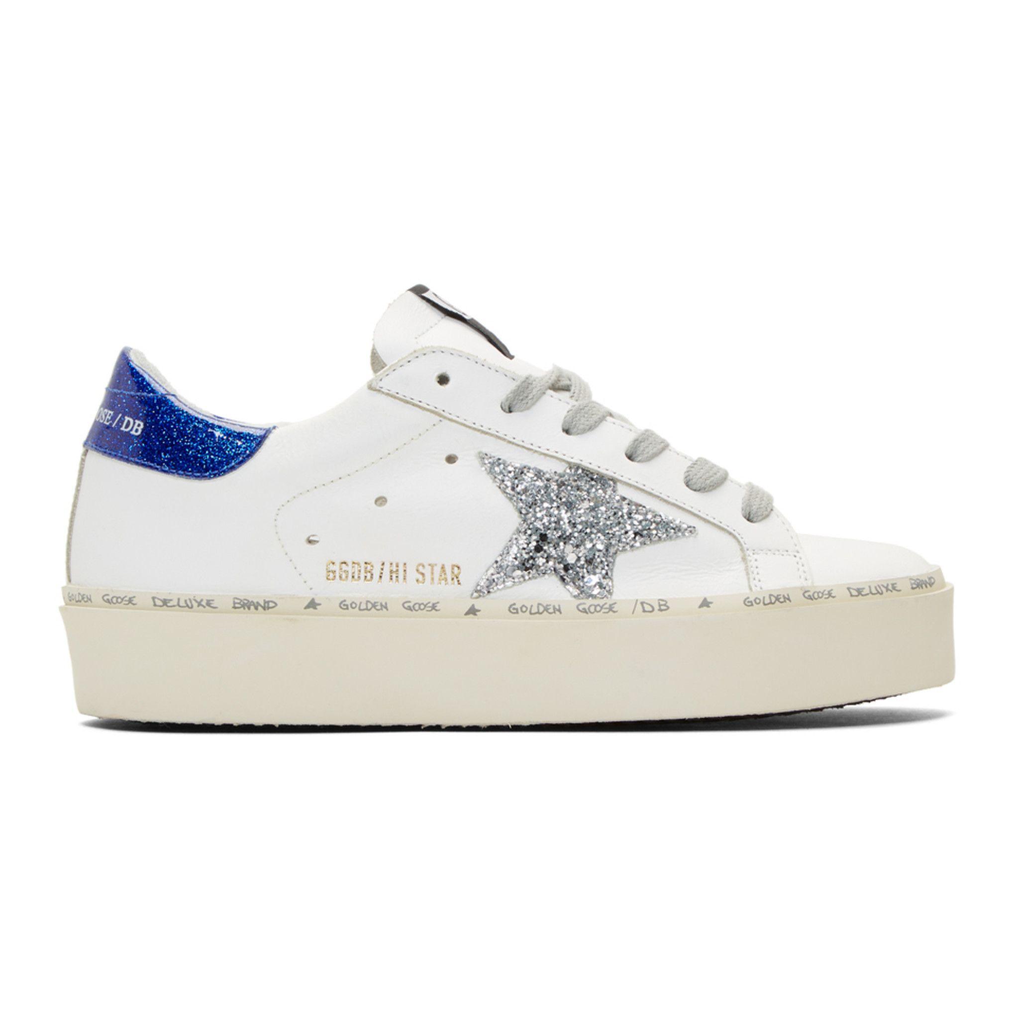 White \u0026 Blue Glitter Hi-Star Sneakers