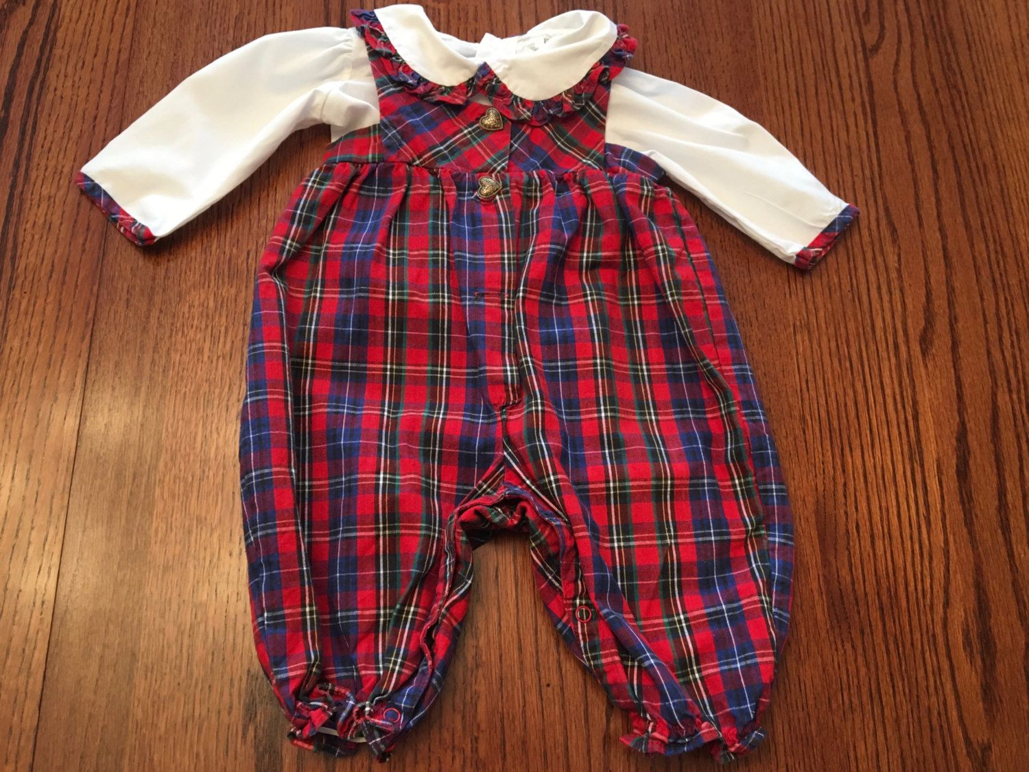 Plaid Overalls Outfit 6/9 Months by lishyloo on Etsy