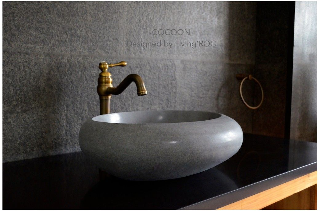 19 Round Oval Gray Basalt Stone Vessel Sink Cocoon Moon Stone