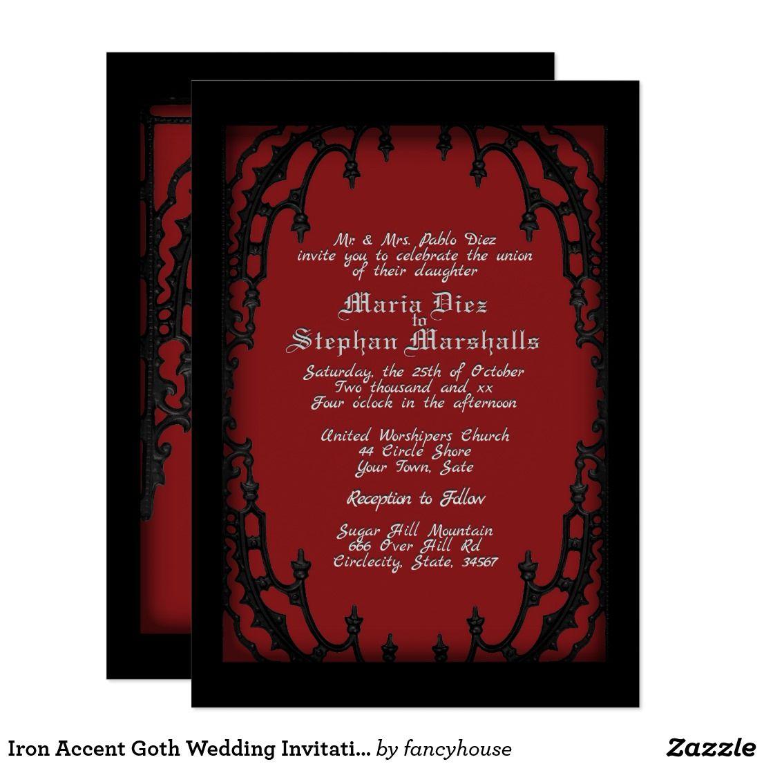 Iron Accent Goth Wedding Invitation | Goth Themed Wedding ...