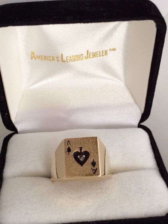 14K Solid Gold Heavy Diamond Ace of Spade Mens Ring Gift idea for