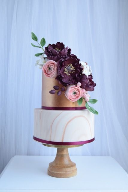 Copper Marble And Purple Wedding Cake With Sugar Peonies And
