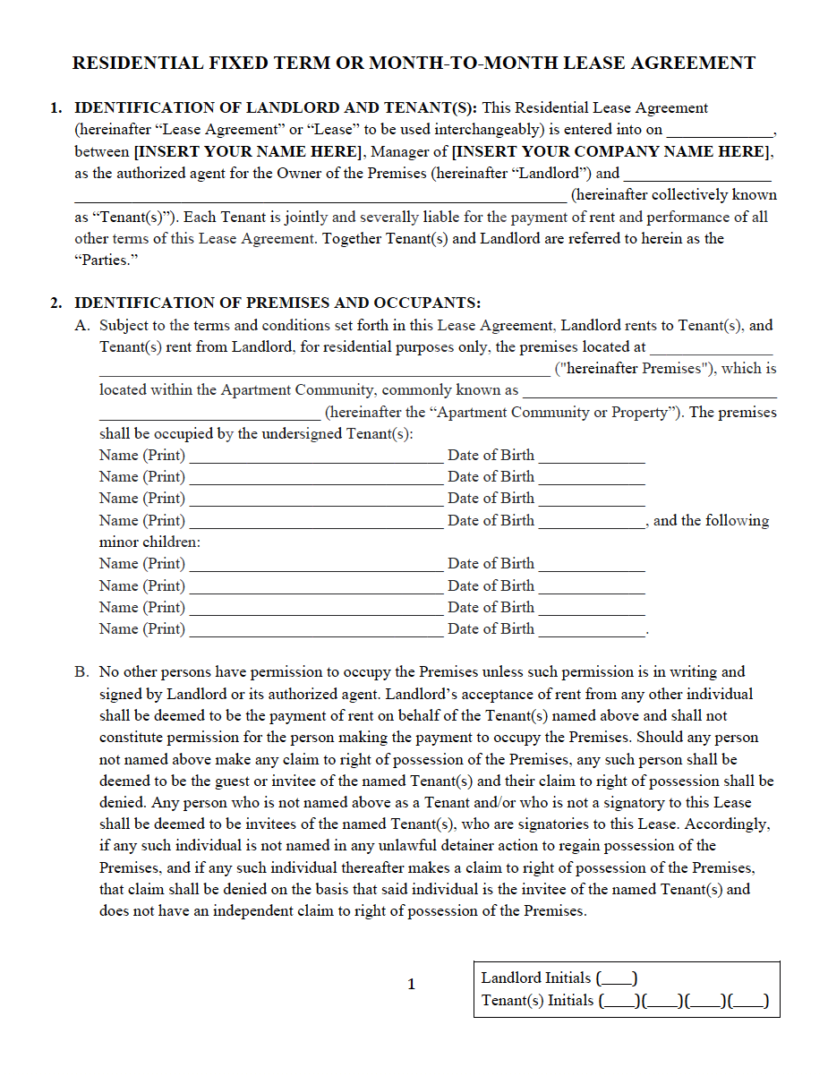 RESIDENTIAL FIXED TERM OR MONTH TO MONTH LEASE AGREEMENT PDF