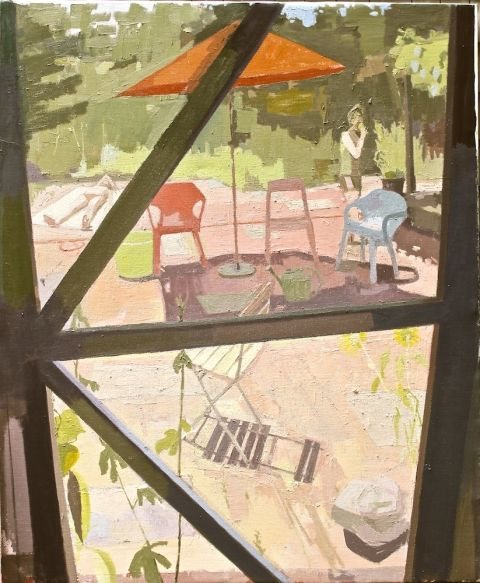 Susan Lichtman, View Through Studio Screen, oil on linen, 62 x 50""