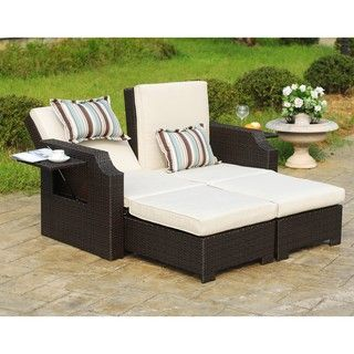 Wicker And Polyester Convertible Outdoor Sofa Chaise