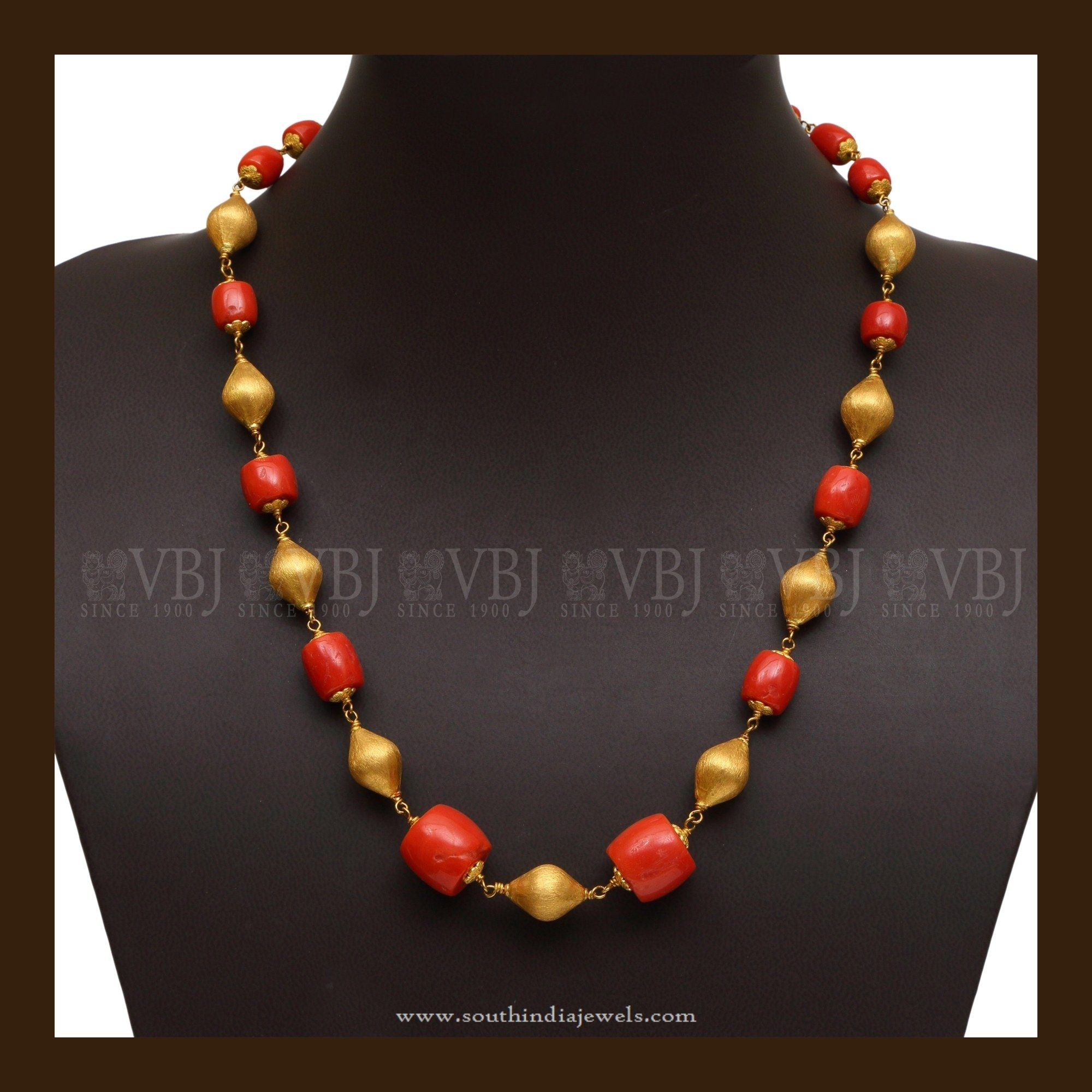 22 carat gold floral designer pendant with multiple beads chain and - 22k Gold Coral Mala Simple Jewelrygold Jewelrynecklace Designssouth Indiagold Beadsbead Necklacescoralbangleschains