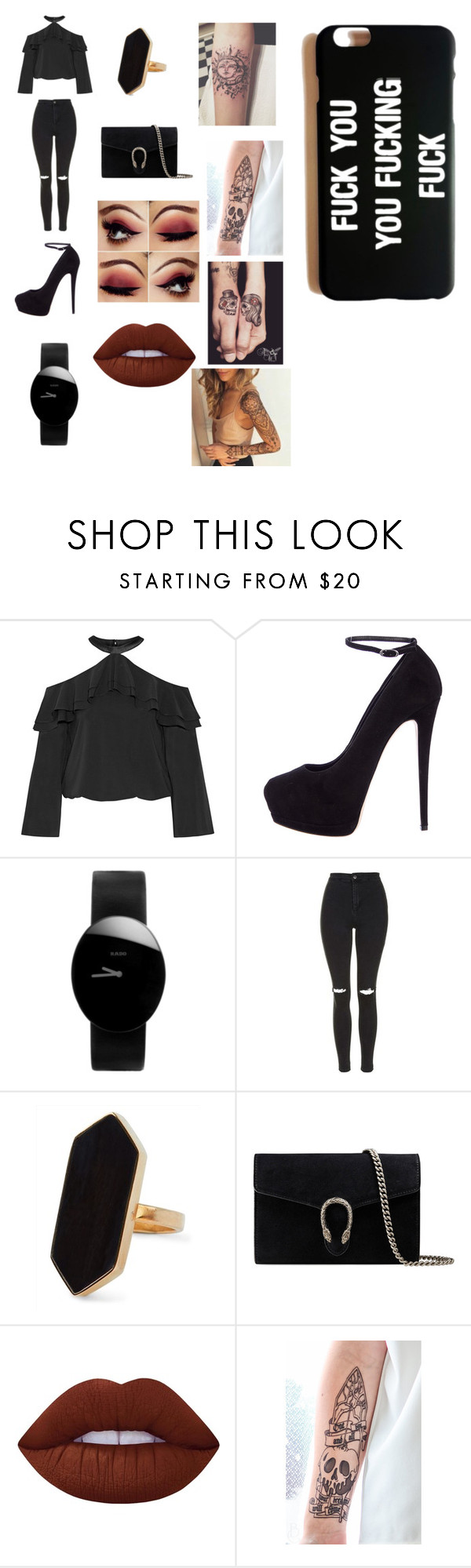 """""""noelle"""" by evanspam on Polyvore featuring Alice + Olivia, Giuseppe Zanotti, Rado, Topshop, Jaeger, Gucci and Lime Crime"""