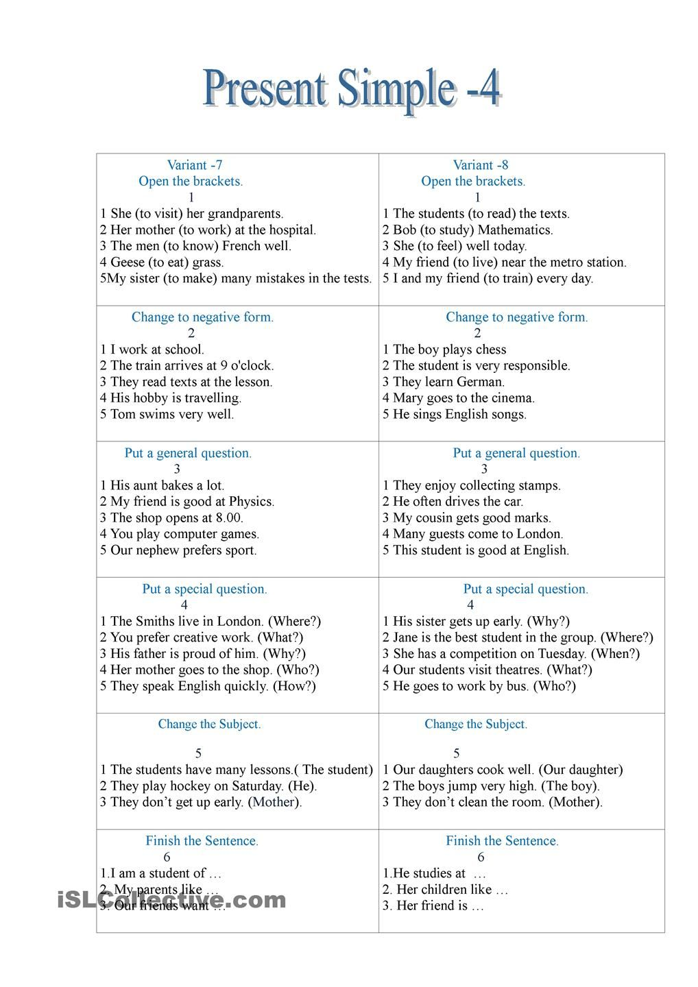 Present Simple -4 | ESL worksheets of the day | Pinterest | Englisch