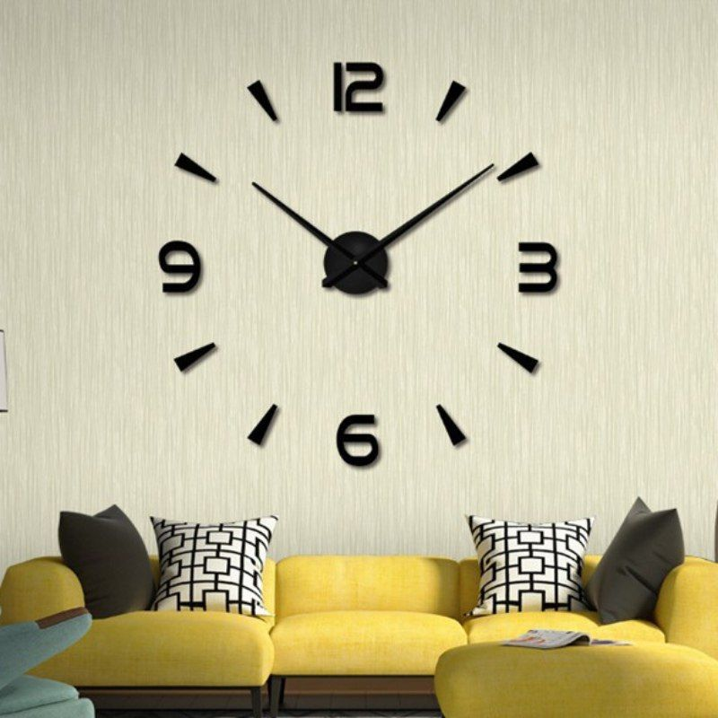 Universe Of Goods Buy Wall Clock Watch Muhsein 3d Diy Acrylic Mirror Wall Stickers Home Decor L With Images Wall Clocks Living Room Living Room Clocks Office Room Decor