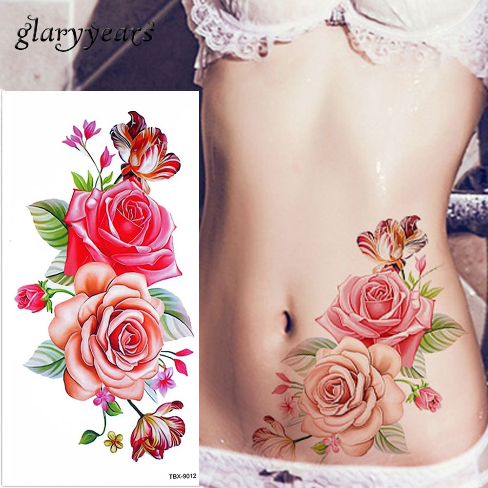 Peony Watercolor Flower Tattoos: Glaryyears 1 Sheet Dazzle Blossom Rose Flower Peony Tattoo