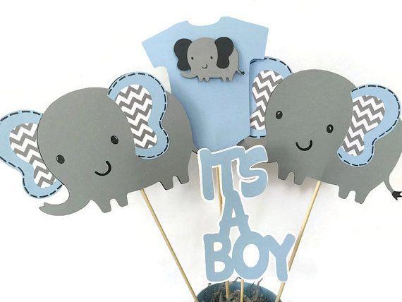 Baby Shower Elefante Niño ~ Mesa elefantes globos aerostáticos azul babyshower adrián ideas