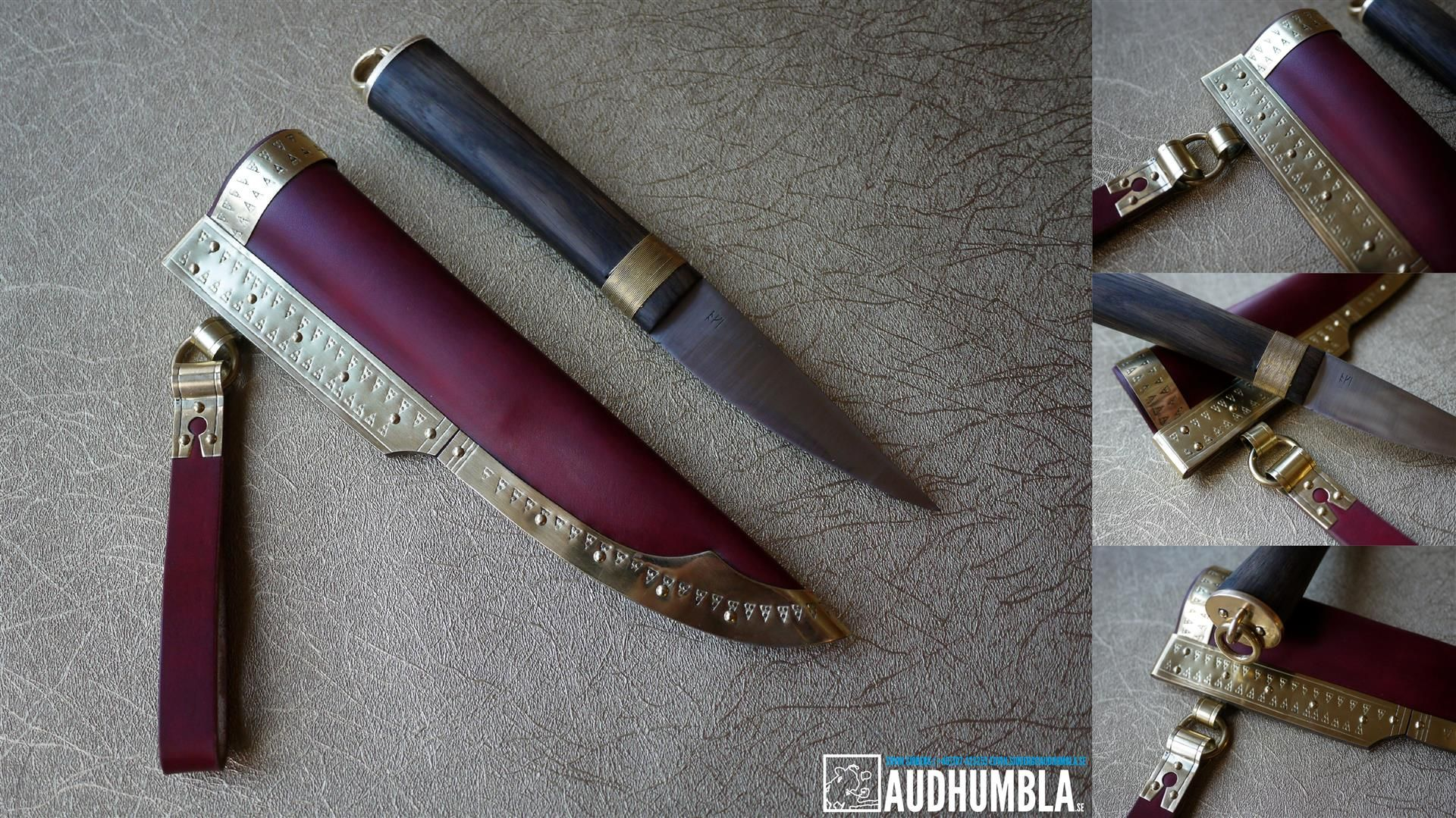 Gotland style viking knife Bog oak handle with brass bolster and ...