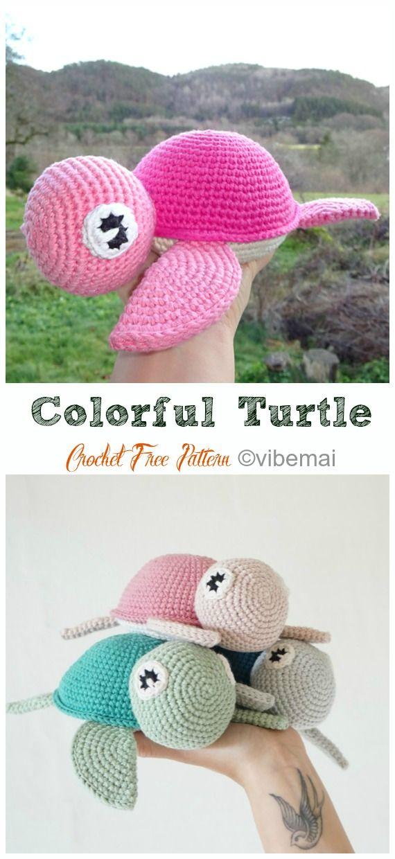 Crochet Turtle Amigurumi Toy Softies Free Patterns #crochetturtles