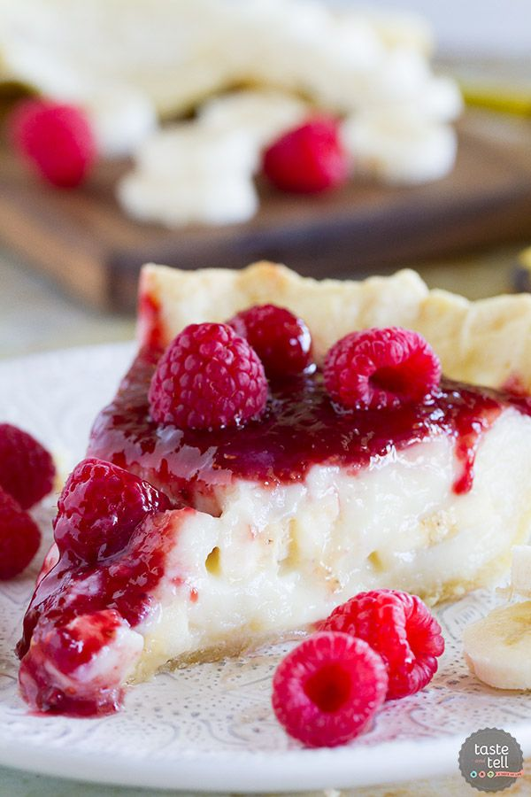 Raspberry Banana Pie Recipe - Taste and Tell #bananapie