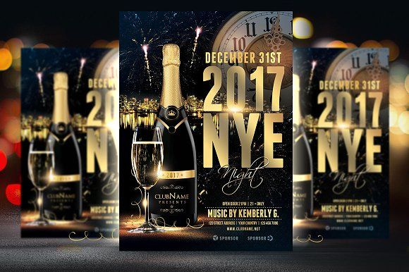 2017 nye flyer template by briell design on creativemarket flyers