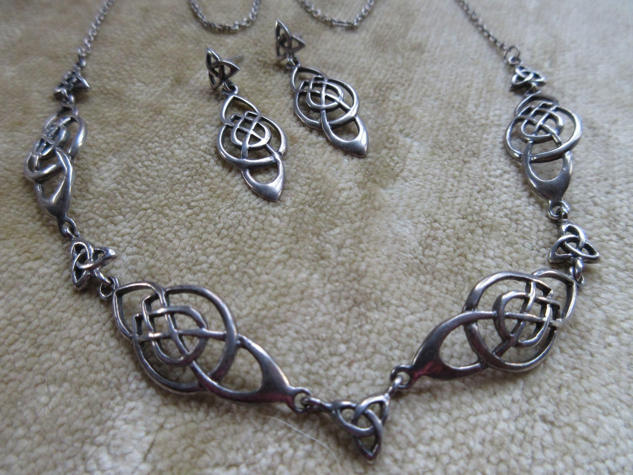 Body piercing earrings  Vintage Sterling Geometric Necklace and Pierced Earrings Hallmarked