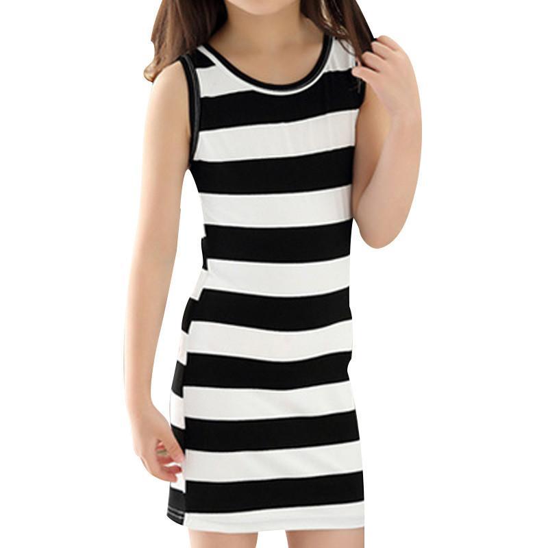 Kids Stripe Dress 3-14 Years Ragazze Di Estate bbd0a6cf524