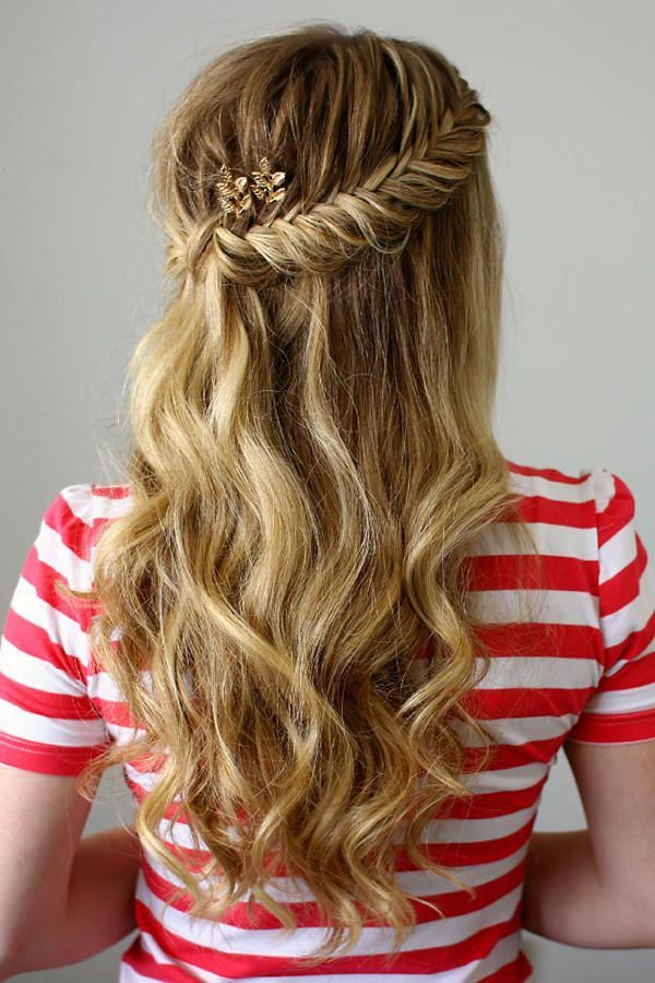 Embellish this half-up, half-down curly prom hairstyle ...